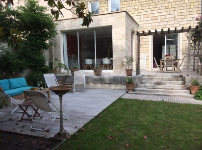 Agrandissement 7m2 avec toit terrasse pour Cuisine Versailles Maçonnerie, menuiseries, parement, terrasse