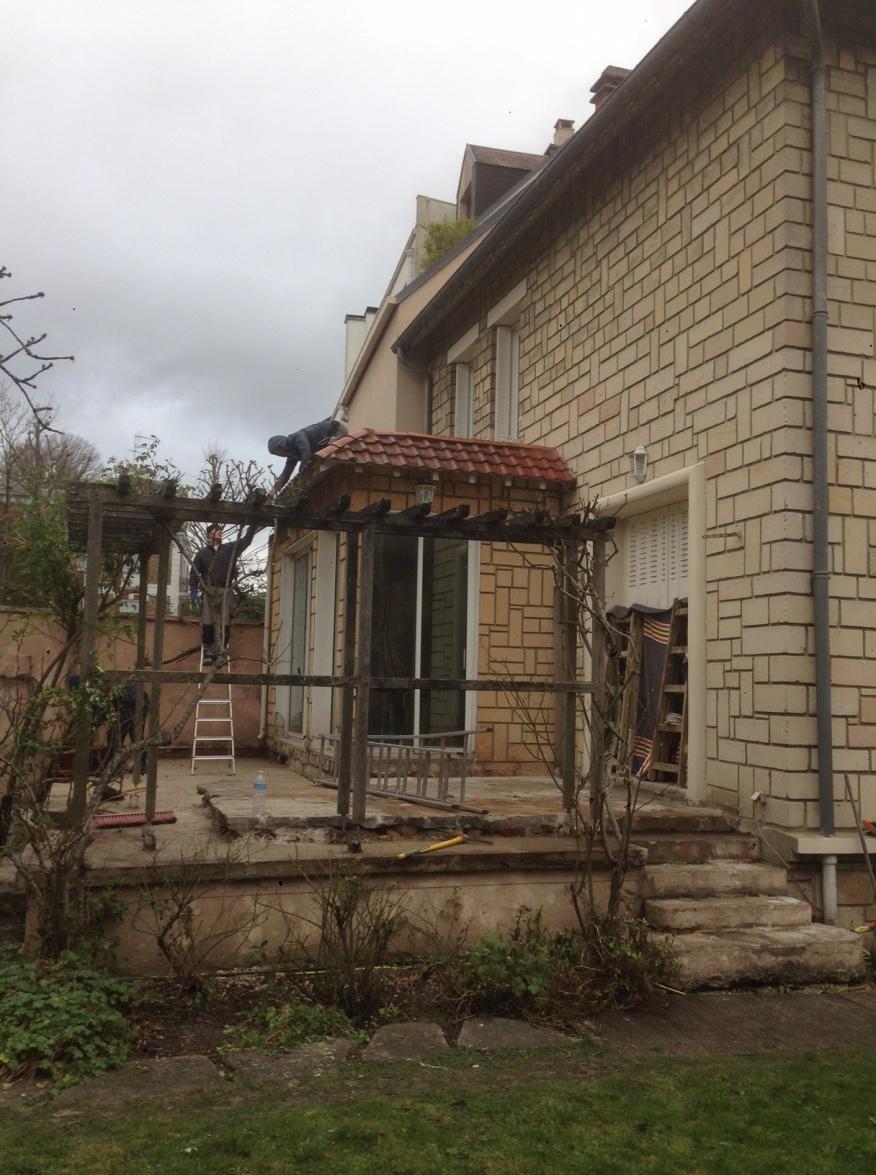 Avant agrandissement Versailles toit terrasse et terrasse extérieur